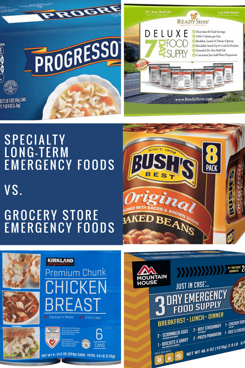 grocery store vs specialty long-term emergency food