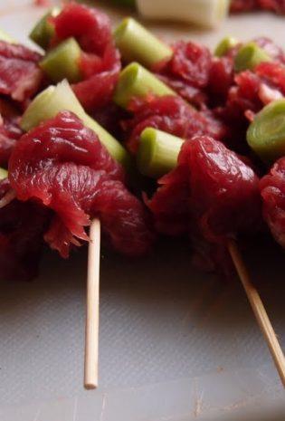 Japanese Style Leek And Beef Skewers