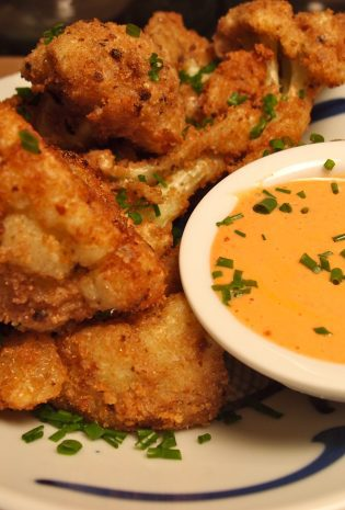 Ginger Breadcrumb Fried Cauliflower with Sriracha Dipping Sauce