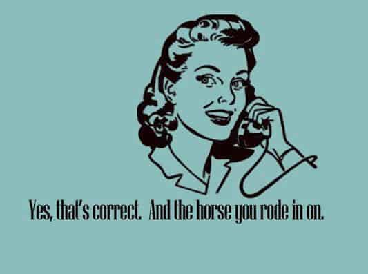 And the horse you rode in on