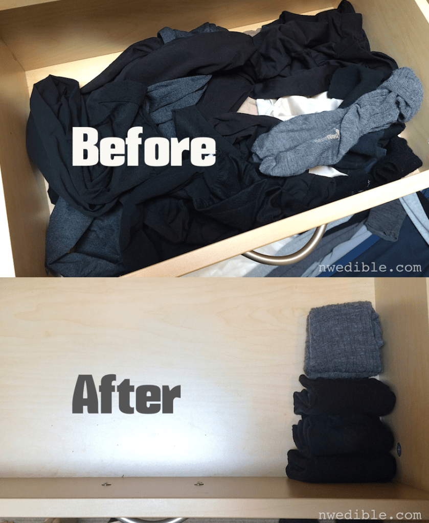 "My sock drawer before and after the ""Spark Joy"" test."
