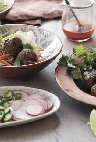Green Herb & Peanut Pork Meatballs in Lettuce Cups