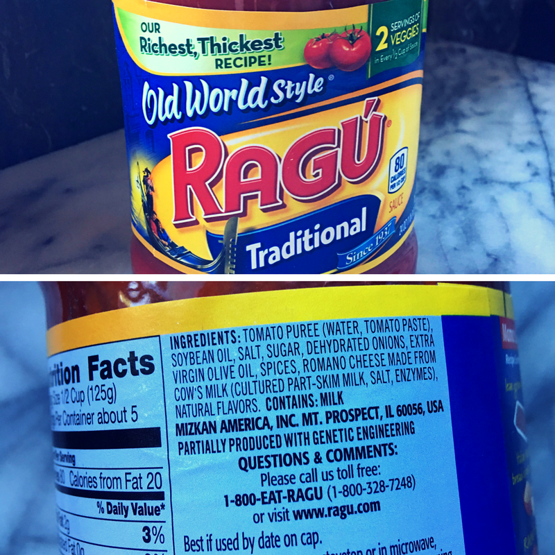 Ragu Jar Ingredients