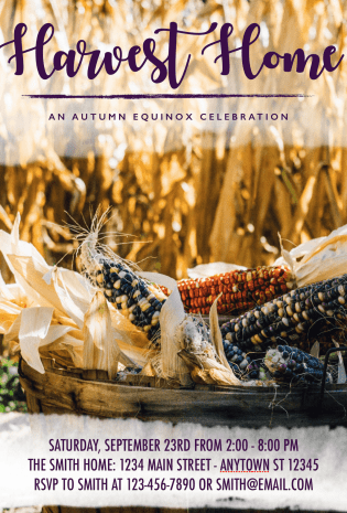 Autumn Equinox Harvest Home Celebration Invitation – Free Download