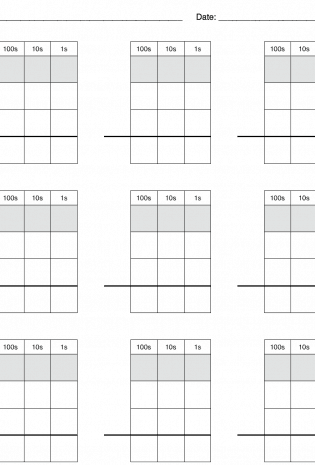 Math Practice Grid Paper for Carrying, Borrowing and Regrouping – Free Homeschool Download